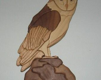 Handmade, intarsia wood art, owl, wallhanging
