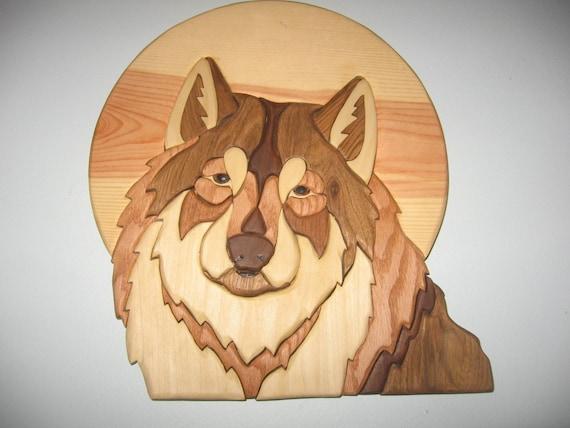 Wolf On Moon Handmade Intarsia Wood Art Wall By Kitswoodart