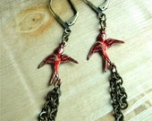 RESERVED FOR MARIA -Red Swallow Earrings
