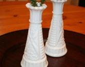 Adorable Set of 2 Vintage White Bud Vases