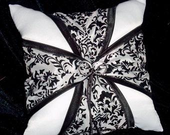 DAMASK Black and White Wedding Ring Bearer Pillow