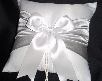 White or Ivory Wedding Ring Bearer Pillow Silver Accent