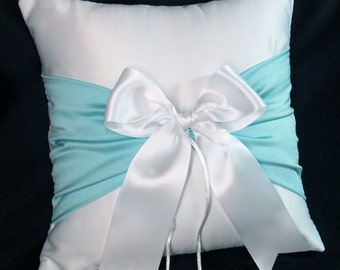 Tiffiny Blue Accent  White or Ivory Wedding Ring Bearer Pillow