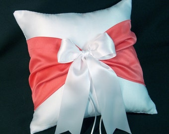 White or Ivory Wedding Ring Bearer Pillow Guava Coral Accent