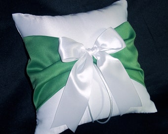 White or Ivory Wedding Ring Bearer Pillow Green Accent