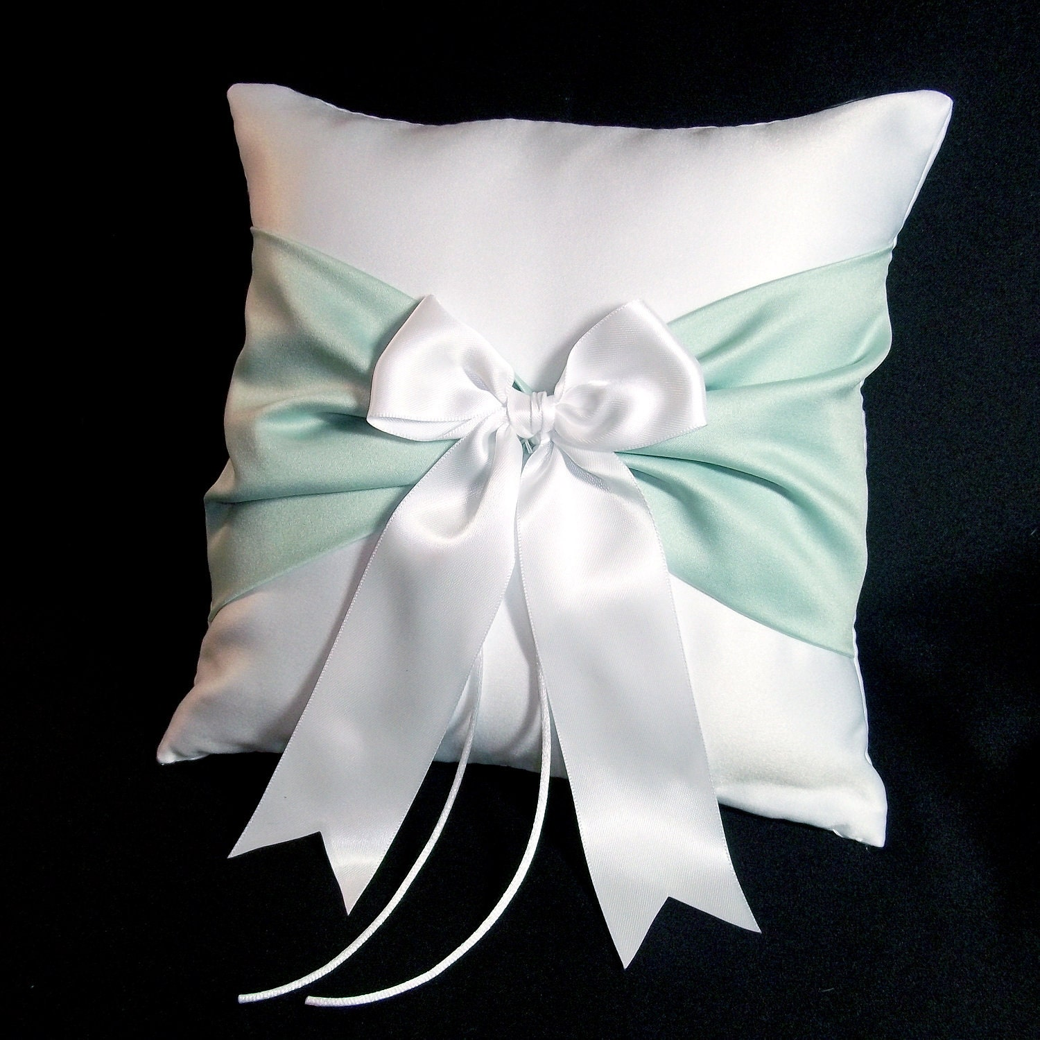White or Ivory Wedding Ring Bearer Pillow Mint Green Accent