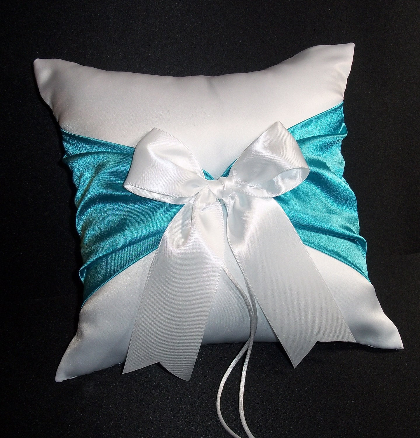 Turquoise Accent White Wedding Ring Bearer Pillow