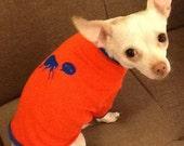 CLEARANCE - Bite Me Flea - Dog Shirt in Orange and Blue