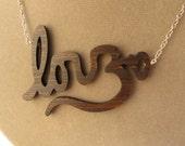Love & Om Wooden Laser Cut Yoga Necklace