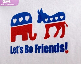 Let's Be Friends Election Shirt - Republican Elephant and Democrat Donkey Show Love Political Tee