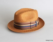 Vintage 1960s Hat : 50s 60s MENS Straw Fedora