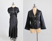 Vintage 1930s Dress : 30s Art Deco Bias Cut Satin Dress and Jacket Evening Dress