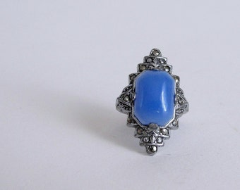 Vintage 1920s 30s Ring : Art Deco Uncas Cocktail Ring