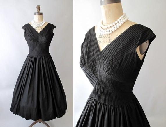 Vintage 1950s Cross My Heart Black Sundress