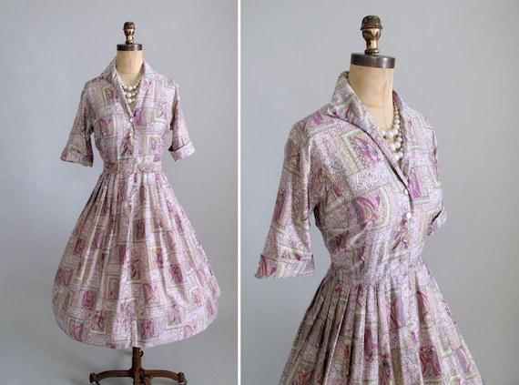 Vintage 1950s dress : 50s Rockabilly Dress Full Skirt Shirtwaist