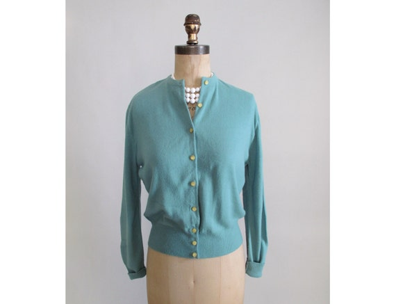 Vintage 1950s Cardigan : 50s Teal Classic Cardigan