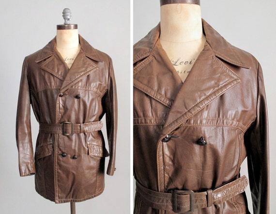 Vintage 1970s MENS Leather Coat : 70s Brown Leather Pea Coat Men Menswear