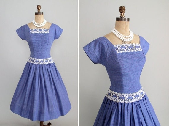 Vintage 1950s Dress : 50s Plaid Garden Party Dress Vicky Vaughn