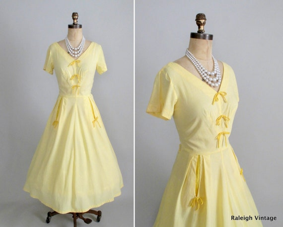 RESERVED...Vintage 1950s Dress : 50s Yellow Gingham Dress