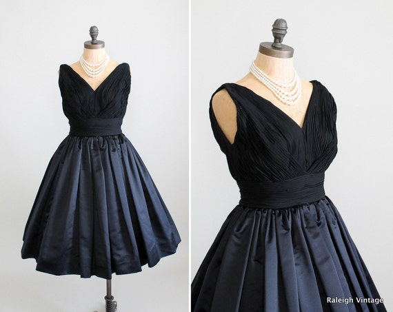 RESERVED...Vintage 1960 Dress : 60s Black Cocktail Dress Couture