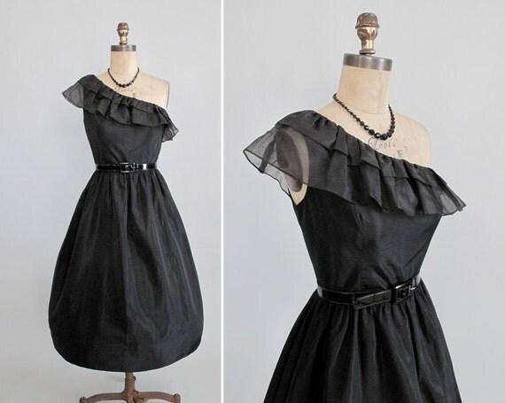 Vintage Cocktail Dress : Sexy Black One Shoulder Prom Dress