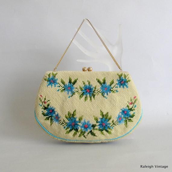 Vintage 1950s Handbag : 50s Embroidered Purse