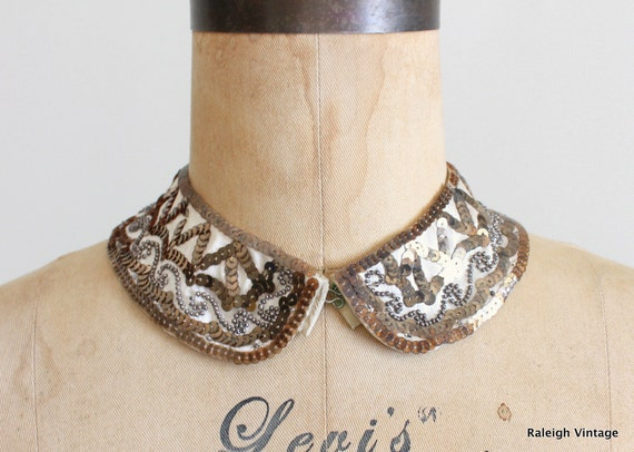 Vintage 1960s Beaded Collar : 50s 60s Sequined Sweater Collar