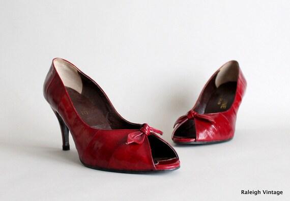 RESERVED...Vintage 1980s Eel Skin Pumps : 80s Red Peep Toe Heels