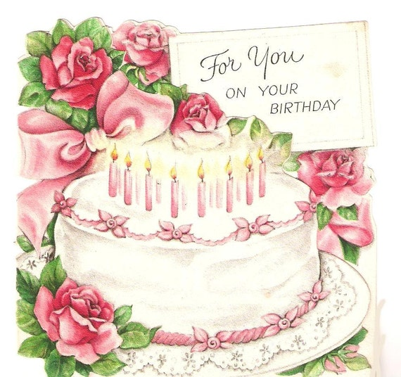 Birthday Card Images With Cake : Vintage Birthday Card Pink Cake