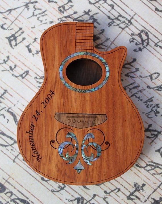 Brazilian Cherry Wood Acoustic Guitar Pick Box