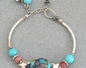 SALE 15% OFF orig price Sterling Silver noodle bracelet set with OOAK lampwork lentil focal, amethyst, jade, 2 pair earrings