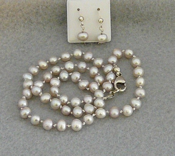 silver freshwater pearls jewelry set necklace fish hook earrings sterling silver findings hand knotted