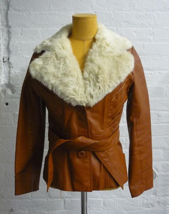 Vintage 1970s  Caramel Leather and Rabbit Fur Pimp Mama Super Fly Jacket SPRING SALE