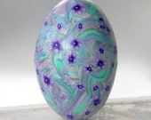 Emu  Egg Covered with Polymer Clay - Pastel Blend with Purple Flowers