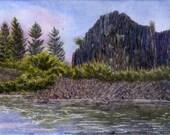 Matted Fine Art Print - Watercolor Painting - Rock Lake Sunrise - 11 x 14
