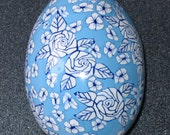 Goose Egg Covered with Polymer Clay - White Roses on Pale Blue Background