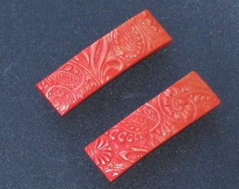 Polymer Clay Barrettes - Pair of 1.75 Inch - Yellow to Red Blend with Iridescent Highlights