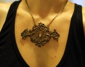 vintage brass victorian escutcheon keyhole necklace