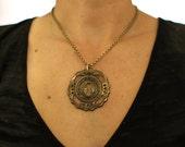 vintage brass escutcheon key hole necklace