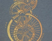 Gray cotton tee Screen printed with Gold wheels & Gears size XL