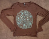 Spring Tendrils Mandala, Hand silk screened Cotton Shirt in Aqua Turquiose on bark Brown XL (SALE)