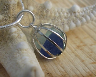 """Something Blue - Beach Glass Pendant & Chain Cage Pendant with Blue Sea Glass on a 18"""" Sterling Silver Plated Chain"""