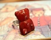 Cutie Bear Red Jasper Gems Adjustable Ring