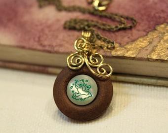 Bathing Bear . Vintage Button . Swirl . Necklace