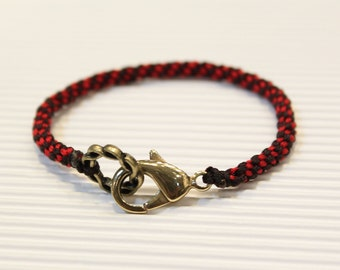 LS Bracelet - Weave Friendship - Red/Black - large brass clasp (listing for one bracelet)