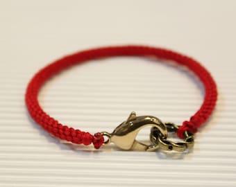 LS Bracelet - Weave Friendship - Hot Red - large brass clasp (listing for one bracelet)