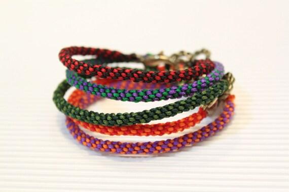 LS Bracelet - Weave Friendship - Purple/Brown - large brass clasp (listing for one bracelet)