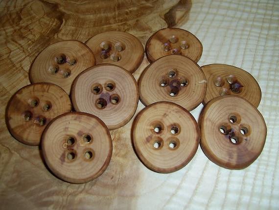 "10 Handmade  apple wood buttons, accessories ( 1,26"" diameter x 0,2"" thick)"
