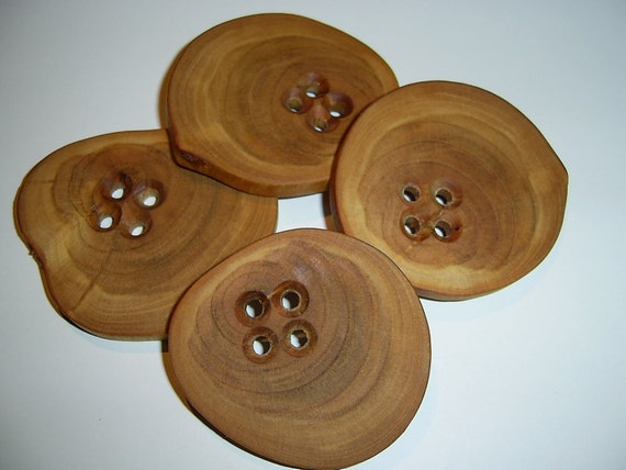 4 Handmade wood large buttons, accessories