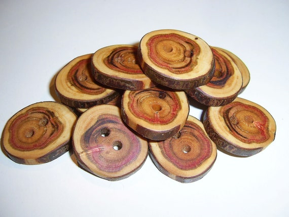 "12 Handmade  wood  buttons, accessories (1,02"" diameter x 0,2"" thick)"
